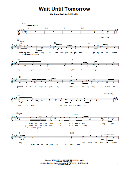 Jimi Hendrix Wait Until Tomorrow sheet music preview music notes and score for Melody Line, Lyrics & Chords including 4 page(s)
