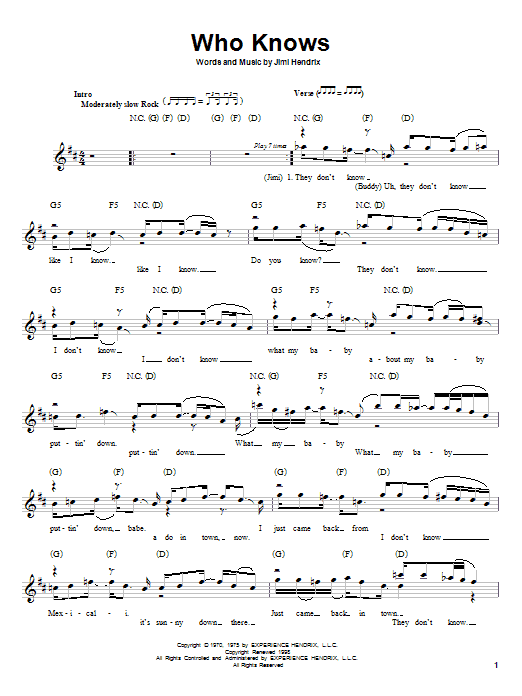Jimi Hendrix Who Knows sheet music preview music notes and score for Melody Line, Lyrics & Chords including 5 page(s)