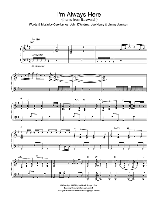Download Jimi Jamison 'I'm Always Here (theme from Baywatch)' Digital Sheet Music Notes & Chords and start playing in minutes