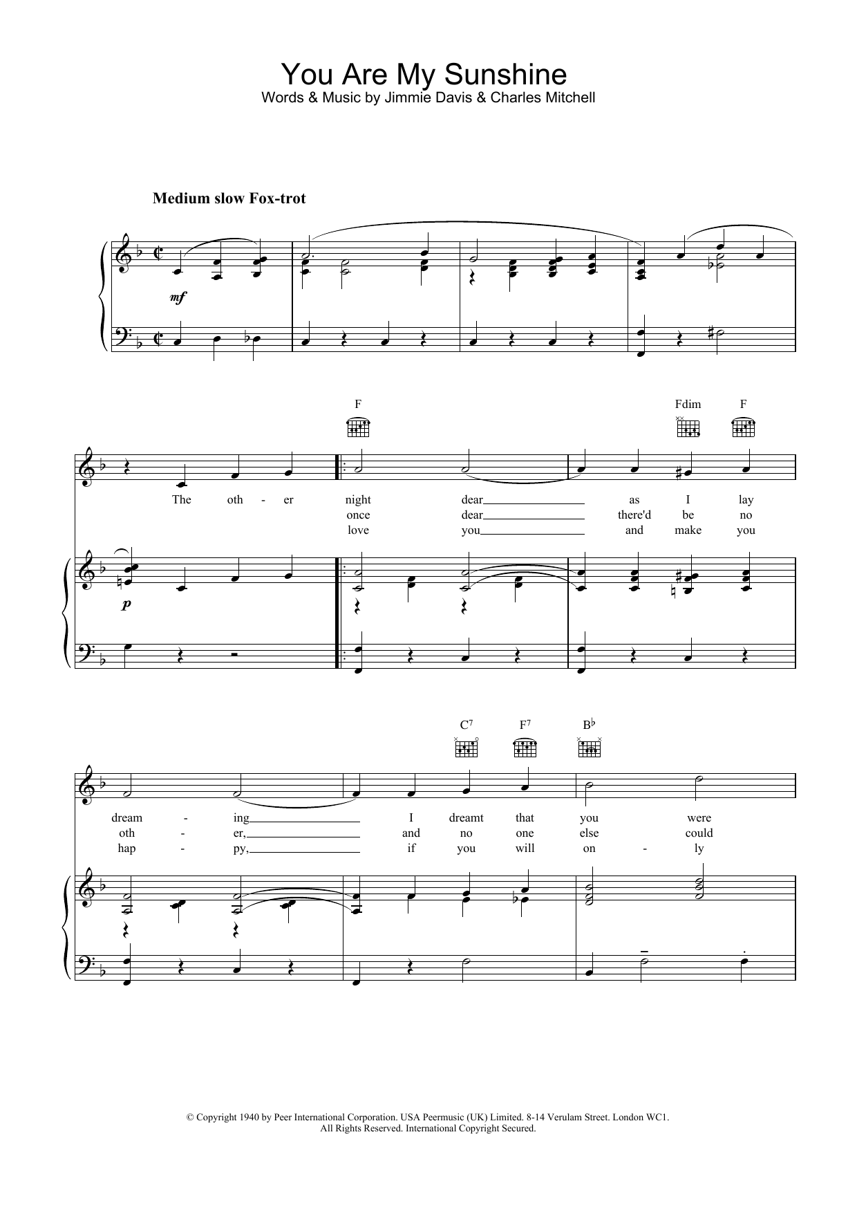 Jimmie Davis You Are My Sunshine sheet music preview music notes and score for Ukulele including 2 page(s)