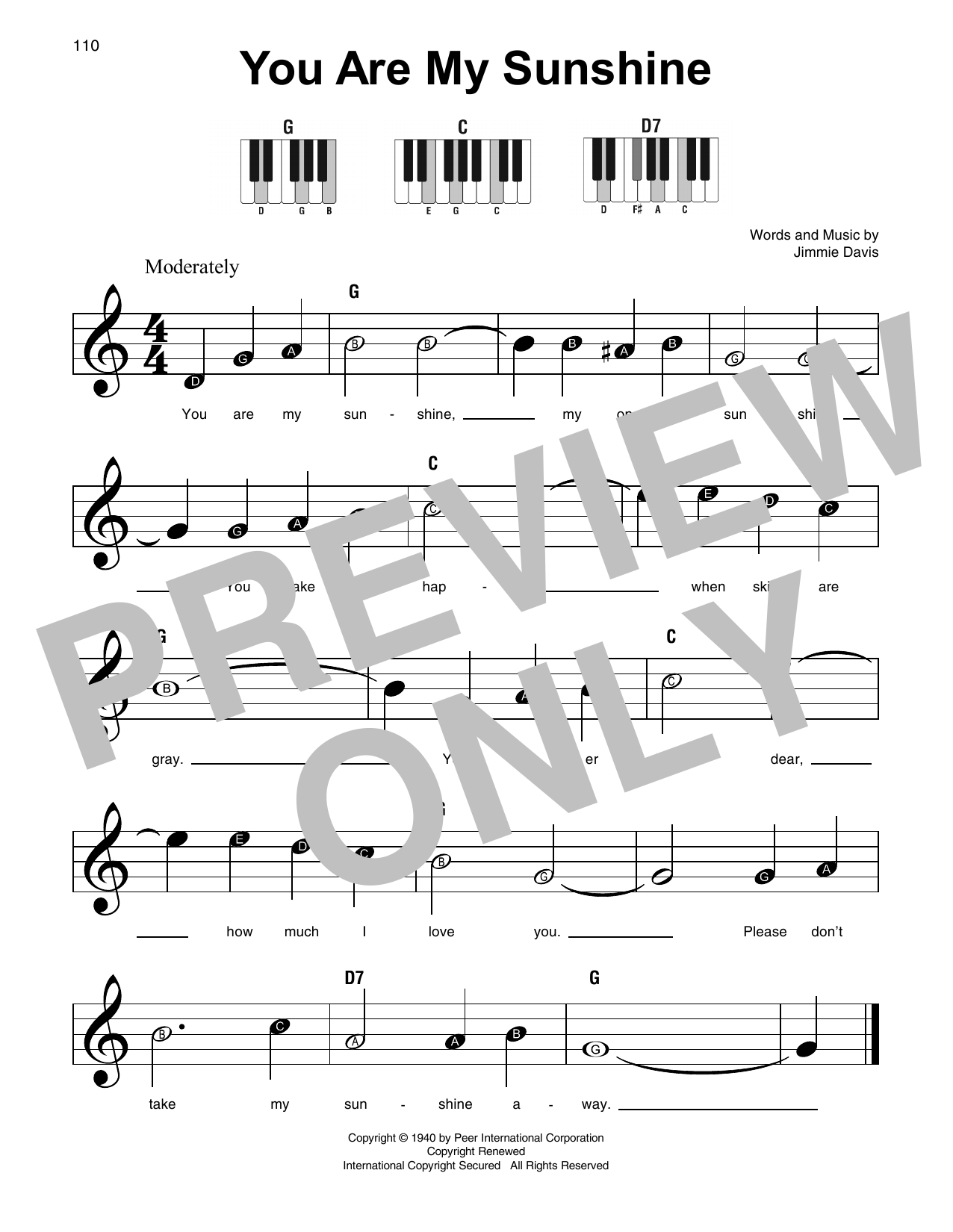 Jimmie Davis You Are My Sunshine sheet music preview music notes and score for Piano, Vocal & Guitar (Right-Hand Melody) including 3 page(s)