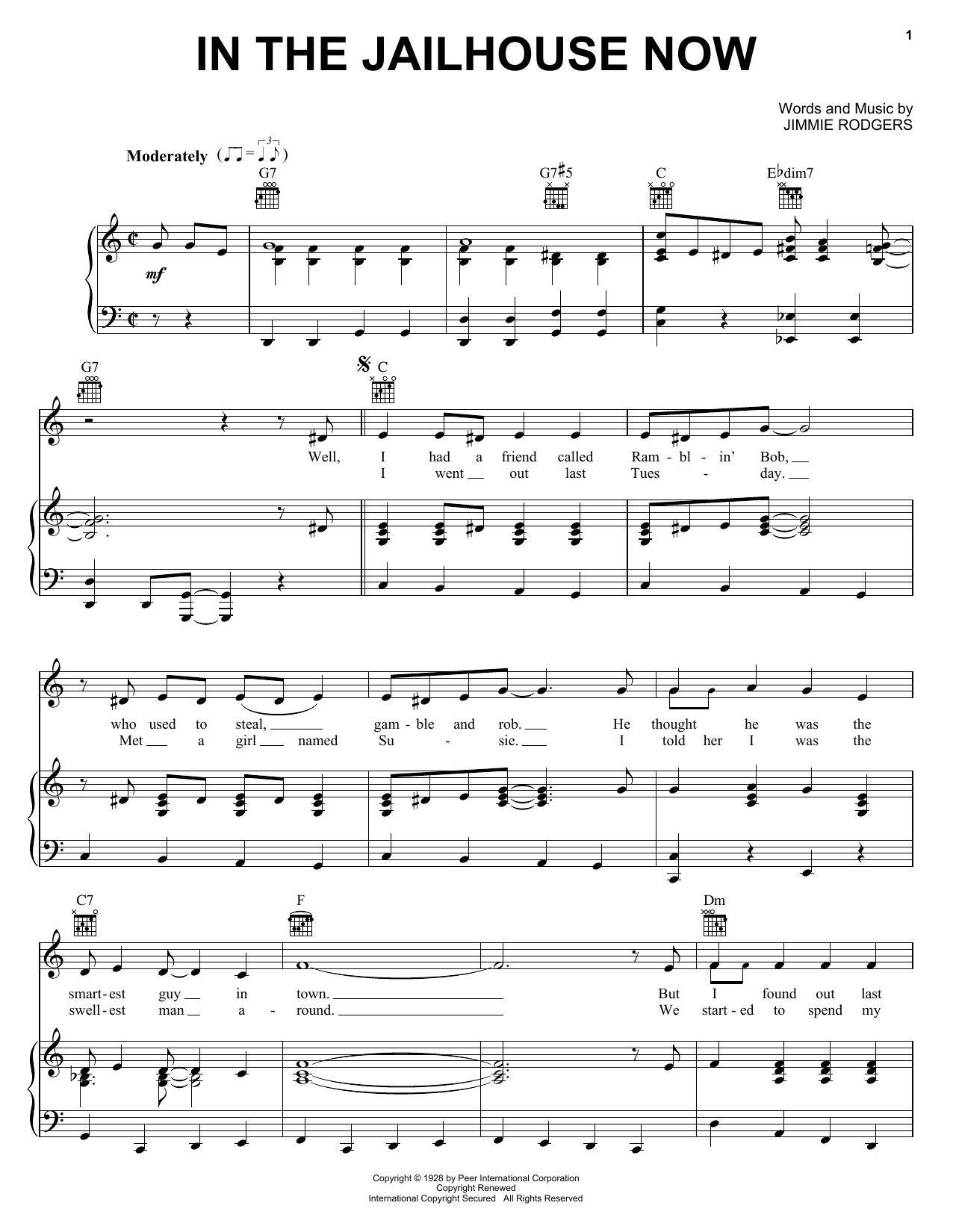 Jimmie Rodgers In The Jailhouse Now sheet music preview music notes and score for Guitar Tab including 2 page(s)