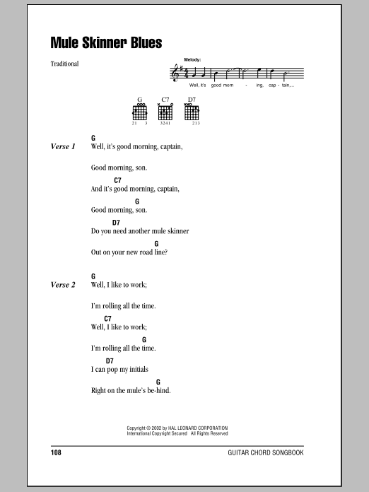 Jimmie Rodgers Mule Skinner Blues sheet music preview music notes and score for Guitar Tab including 3 page(s)