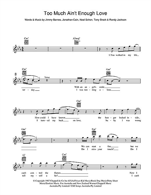 Jimmy Barnes Too Much Ain't Enough Love sheet music preview music notes and score for Melody Line, Lyrics & Chords including 2 page(s)