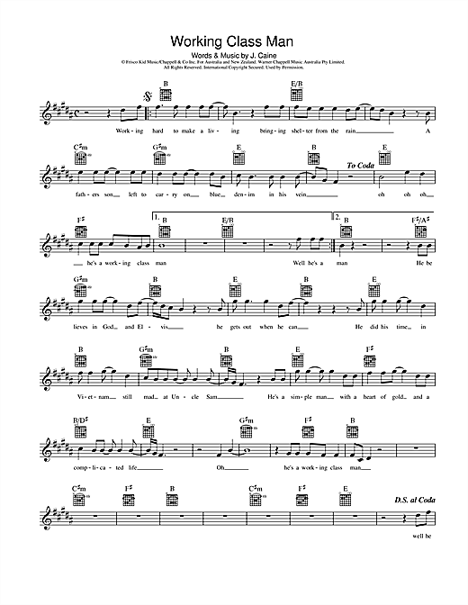 Jimmy Barnes Working Class Man sheet music preview music notes and score for Melody Line, Lyrics & Chords including 2 page(s)