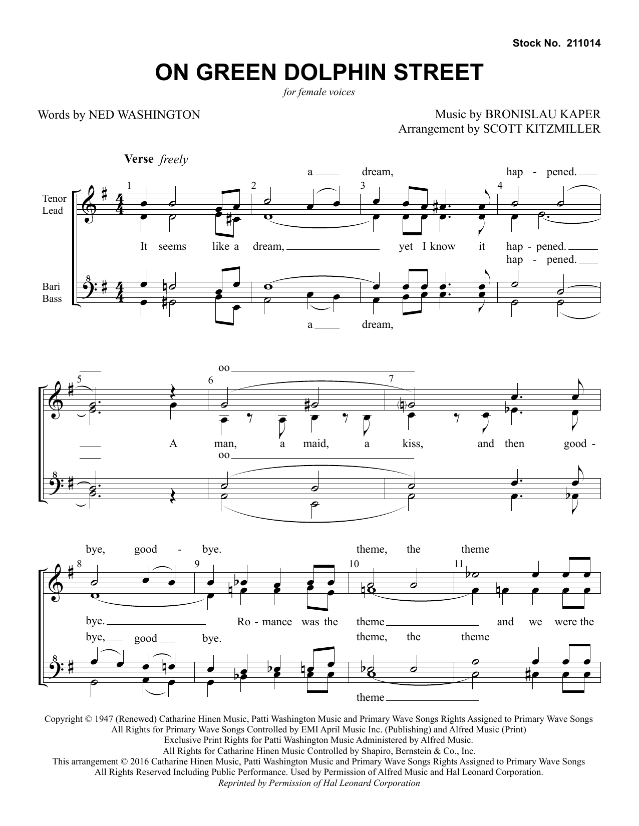 Jimmy Dorsey Orchestra On Green Dolphin Street (arr. Scott Kitzmiller) sheet music preview music notes and score for TTBB Choir including 8 page(s)
