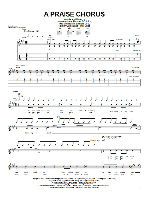 Jimmy Eat World A Praise Chorus sheet music preview music notes and score for Guitar Tab including 5 page(s)