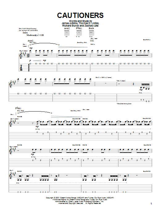 Jimmy Eat World Cautioners sheet music preview music notes and score for Guitar Tab including 6 page(s)
