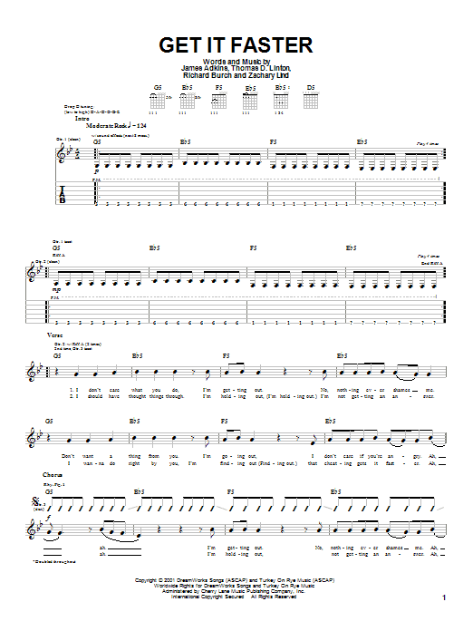 Jimmy Eat World Get It Faster sheet music notes and chords