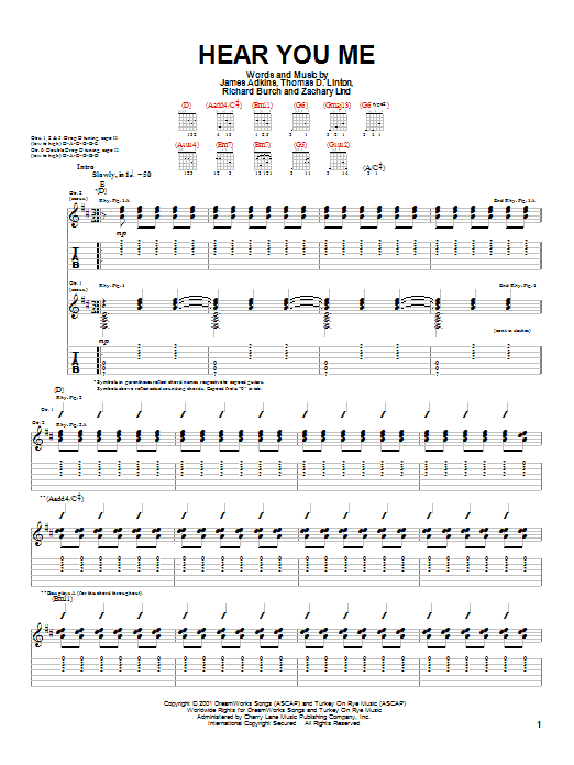 Jimmy Eat World Hear You Me sheet music preview music notes and score for Guitar Tab including 7 page(s)