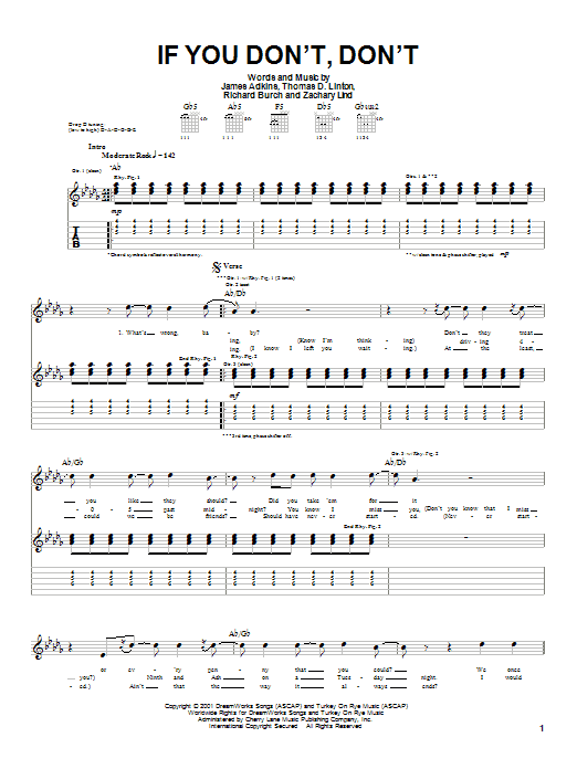 Jimmy Eat World If You Don't, Don't sheet music notes and chords