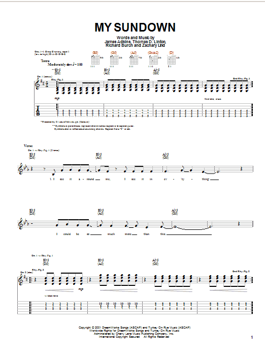Jimmy Eat World My Sundown sheet music notes and chords