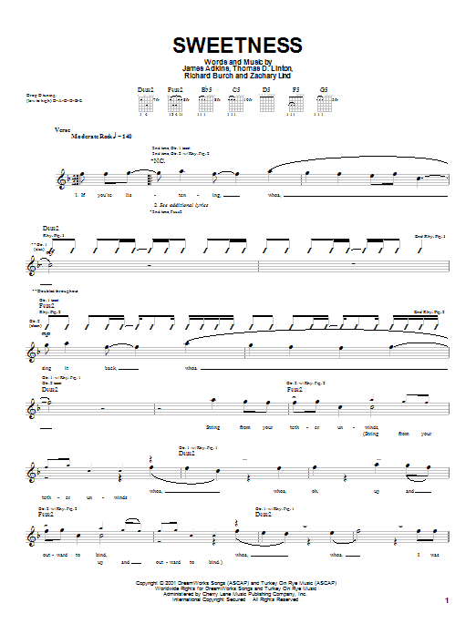 Jimmy Eat World Sweetness sheet music preview music notes and score for Guitar Tab including 5 page(s)