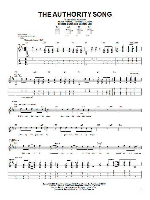 Jimmy Eat World The Authority Song sheet music preview music notes and score for Guitar Tab including 4 page(s)