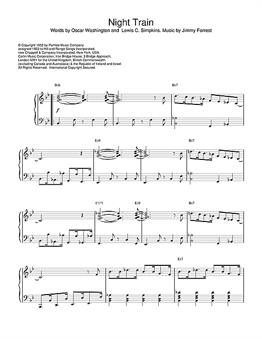Jimmy Forrest Night Train sheet music notes and chords
