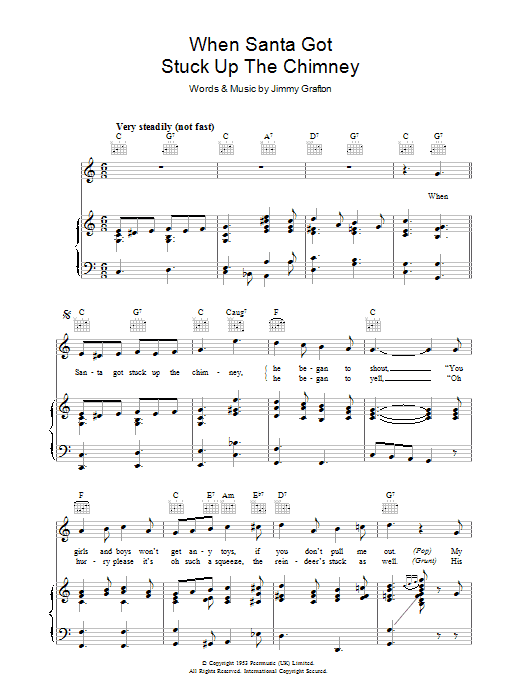 Jimmy Grafton When Santa Got Stuck Up The Chimney sheet music preview music notes and score for Piano, Vocal & Guitar (Right-Hand Melody) including 3 page(s)