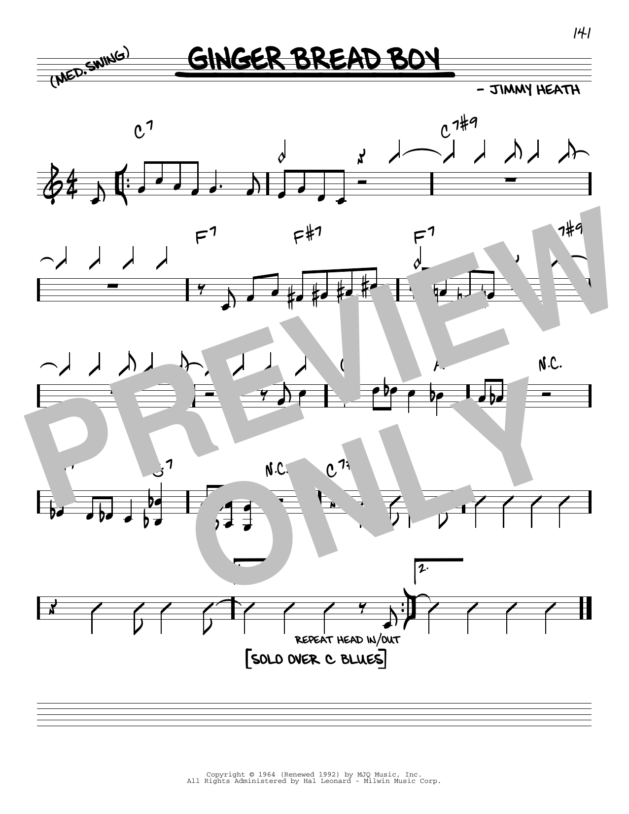 Jimmy Heath Ginger Bread Boy sheet music notes and chords