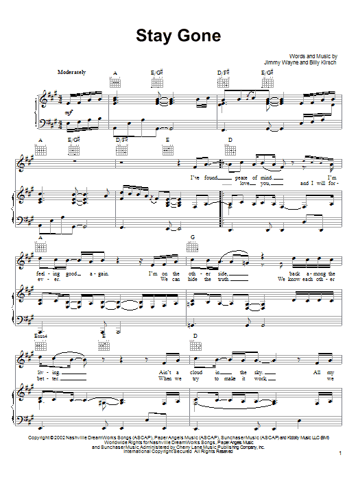 Jimmy Wayne Stay Gone sheet music notes and chords