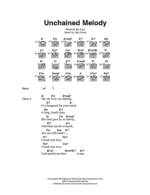 Jimmy Young Unchained Melody sheet music preview music notes and score for Lyrics & Chords including 2 page(s)