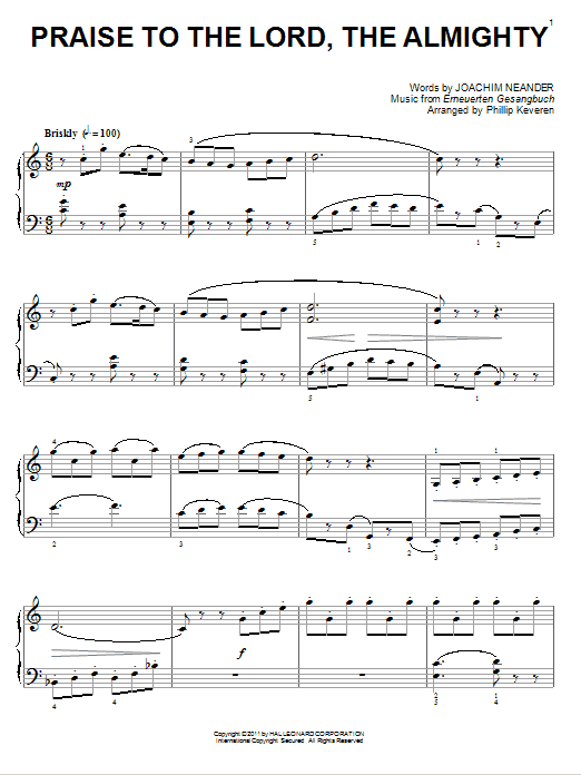 Download Joachim Neander 'Praise To The Lord, The Almighty' Digital Sheet Music Notes & Chords and start playing in minutes