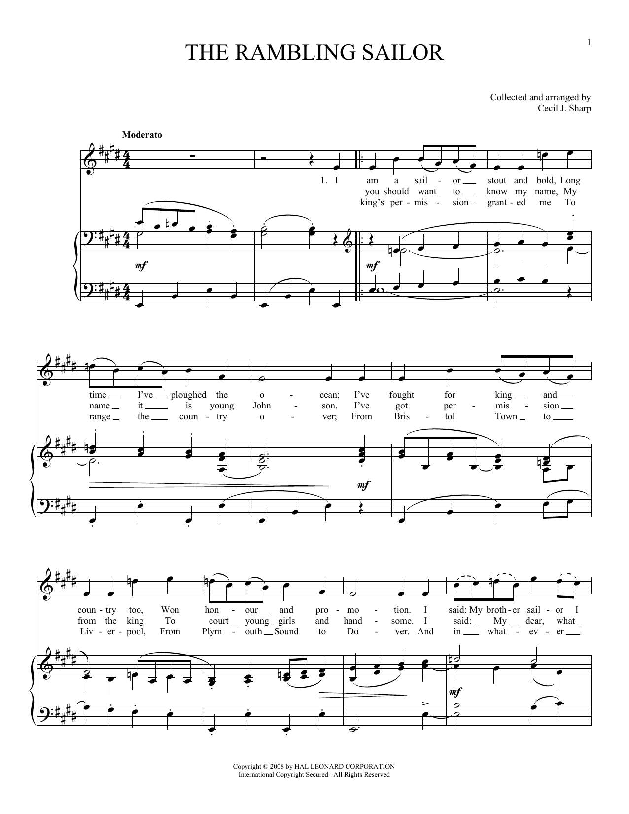Joan Frey Boytim The Rambling Sailor sheet music preview music notes and score for Piano, Vocal & Guitar (Right-Hand Melody) including 2 page(s)