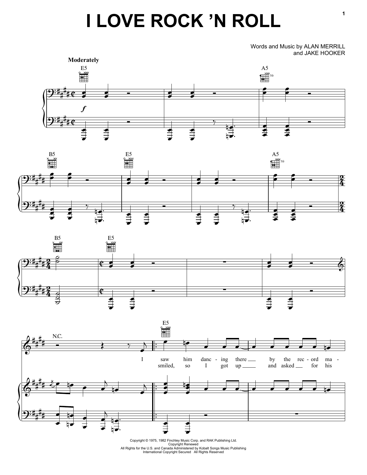 Joan Jett & The Blackhearts I Love Rock 'N Roll sheet music preview music notes and score for Lyrics & Chords including 3 page(s)