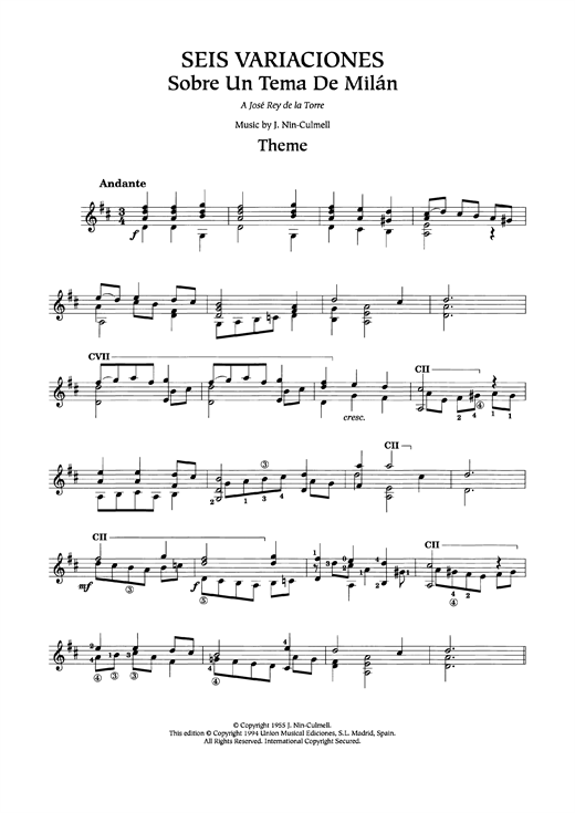 Joaquin Nin-Culmell Seis Variaciones sheet music preview music notes and score for Guitar including 6 page(s)