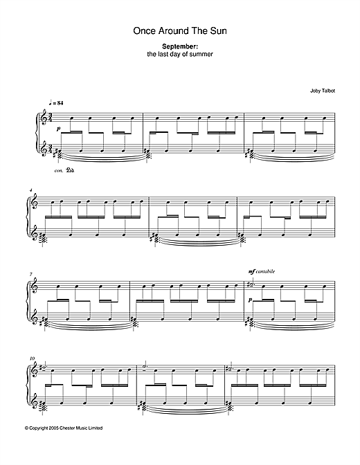 Joby Talbot September (from Once Around The Sun) sheet music notes and chords