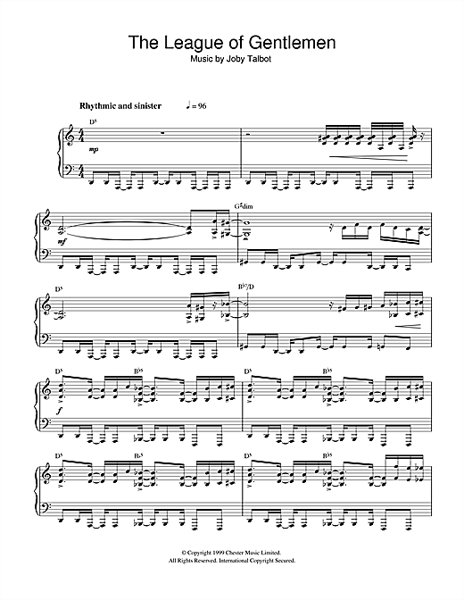 Download Joby Talbot 'The League Of Gentlemen' Digital Sheet Music Notes & Chords and start playing in minutes