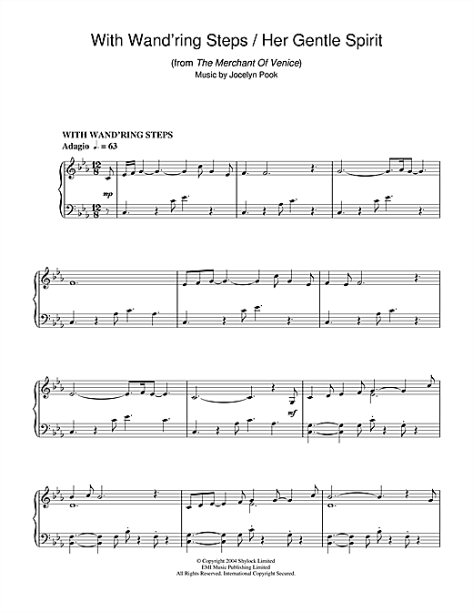 Jocelyn Pook With Wand'ring Steps (from The Merchant Of Venice) sheet music notes and chords
