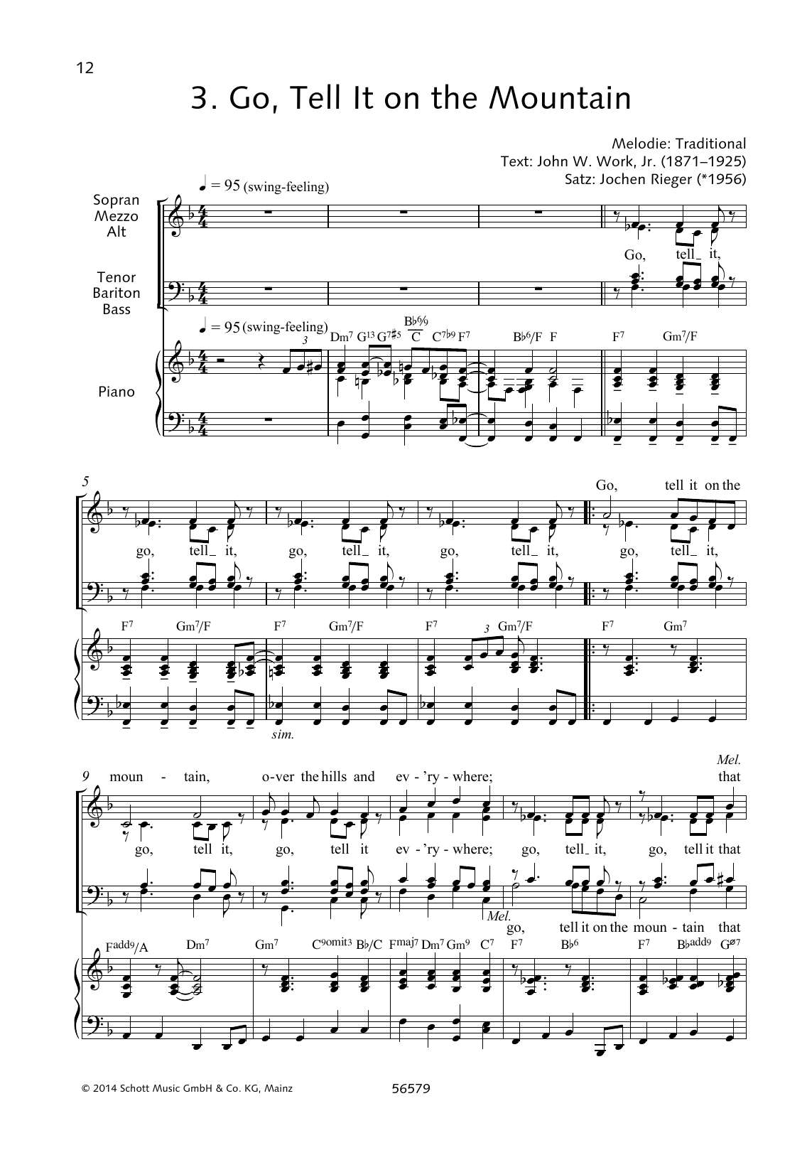 Jochen Rieger Go, Tell It on the Mountain sheet music preview music notes and score for Choir including 4 page(s)