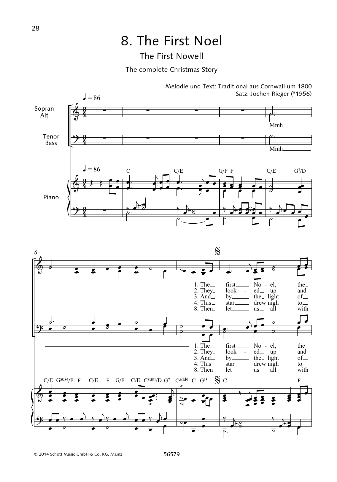 Jochen Rieger The First Noel sheet music preview music notes and score for Choir including 4 page(s)