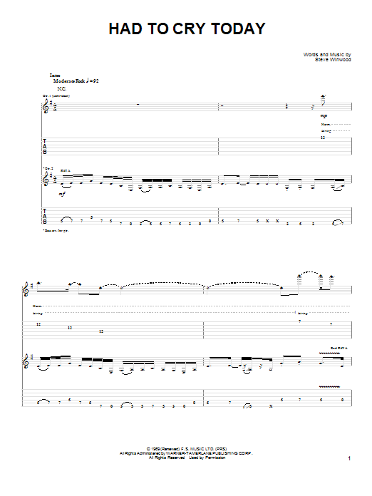 Joe Bonamassa Had To Cry Today sheet music preview music notes and score for Guitar Tab including 12 page(s)