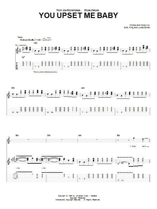 Joe Bonamassa You Upset Me Baby sheet music preview music notes and score for Guitar Tab including 6 page(s)