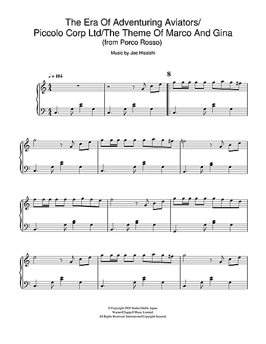 Download Joe Hisaishi 'Porco Rosso (The Era Of Adventuring Aviators/Piccolo Corp Ltd/The Theme Of Marco And G' Digital Sheet Music Notes & Chords and start playing in minutes