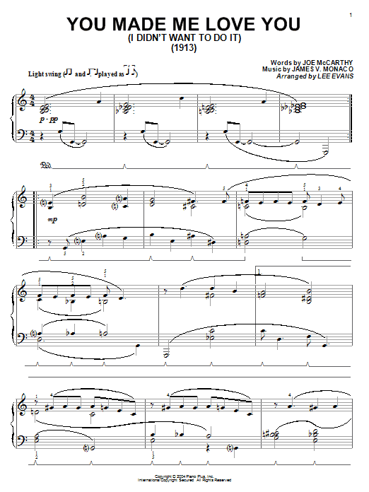 Joe McCarthy You Made Me Love You (I Didn't Want To Do It) sheet music preview music notes and score for Piano including 5 page(s)