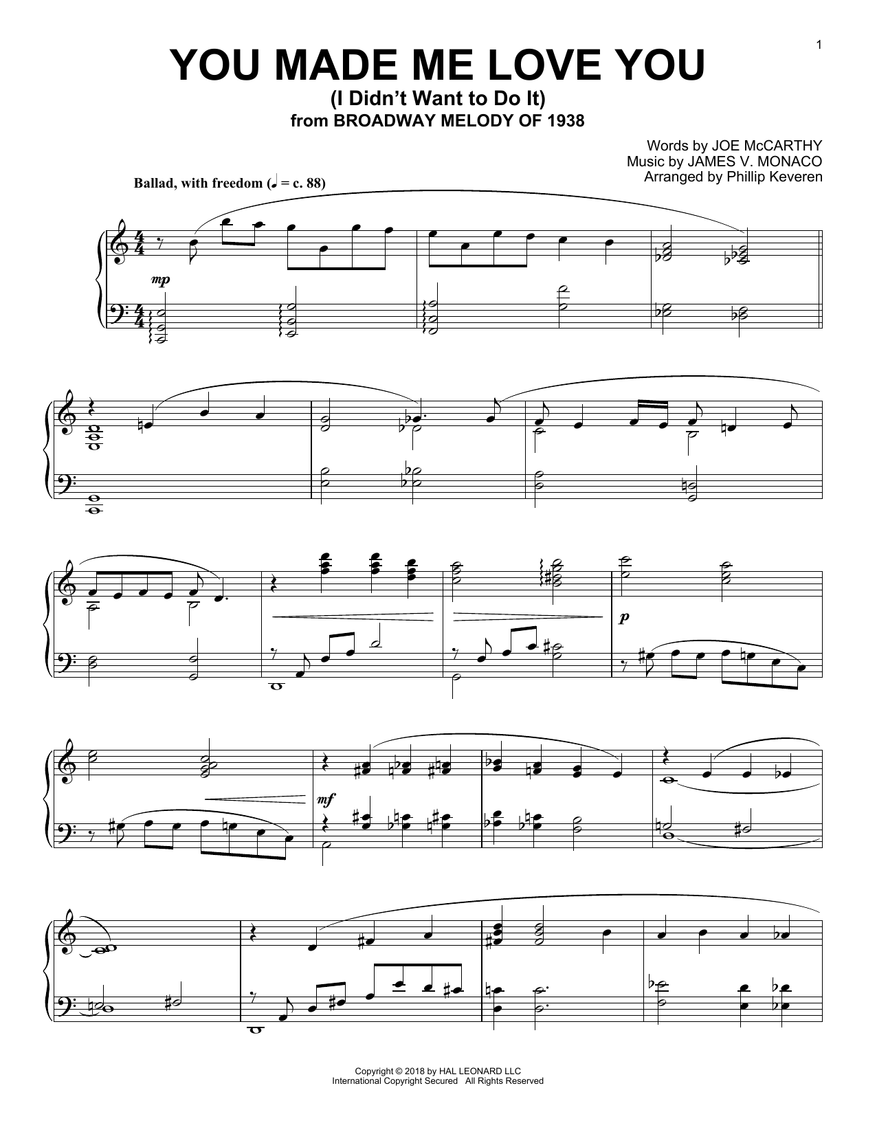 Joe McCarthy You Made Me Love You (I Didn't Want To Do It) (arr. Phillip Keveren) sheet music notes and chords
