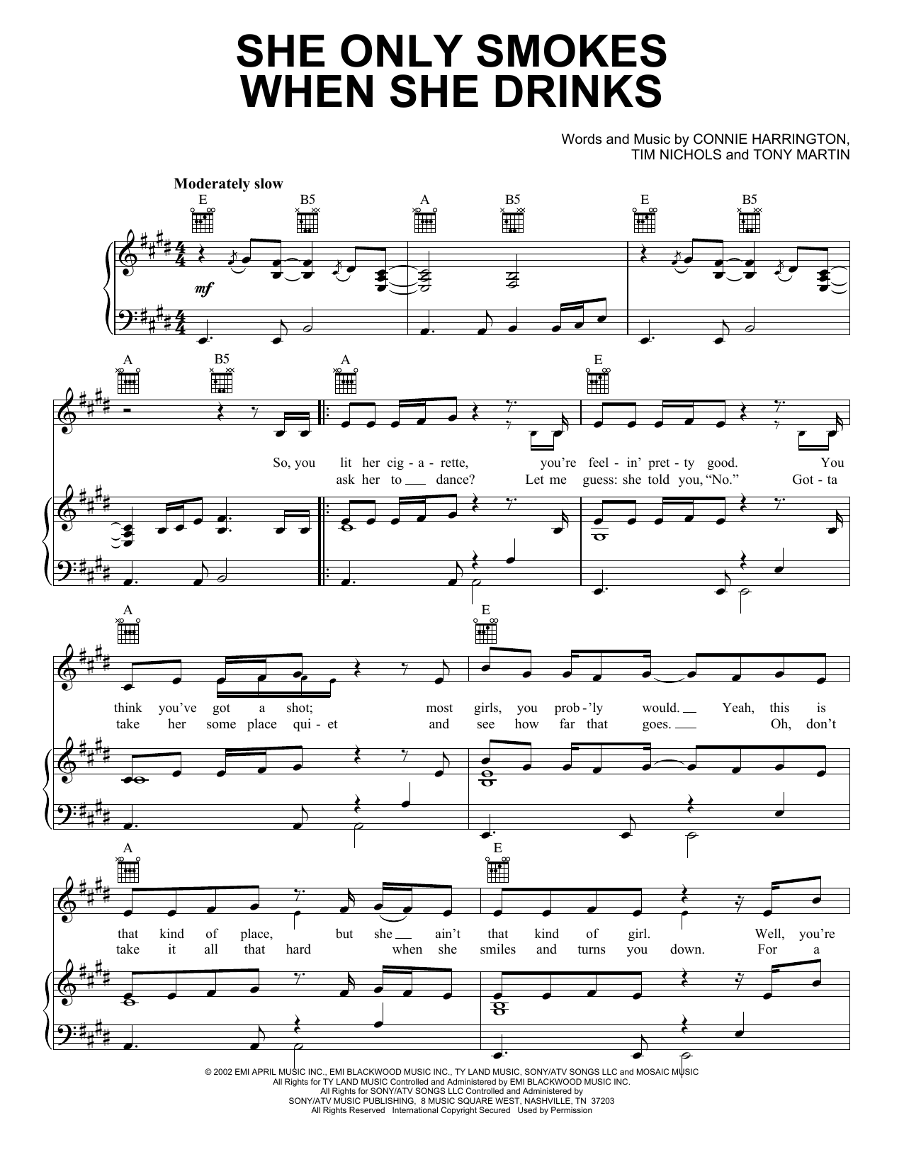 Joe Nichols She Only Smokes When She Drinks sheet music preview music notes and score for Piano, Vocal & Guitar (Right-Hand Melody) including 4 page(s)