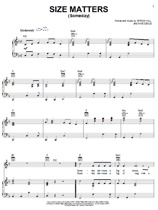 Joe Nichols Size Matters (Someday) sheet music preview music notes and score for Piano, Vocal & Guitar (Right-Hand Melody) including 6 page(s)