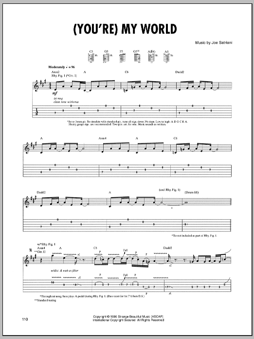 Joe Satriani (You're) My World sheet music preview music notes and score for Guitar Tab including 9 page(s)