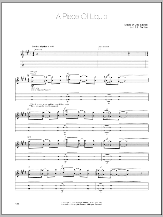 Joe Satriani A Piece Of Liquid sheet music preview music notes and score for Guitar Tab including 5 page(s)