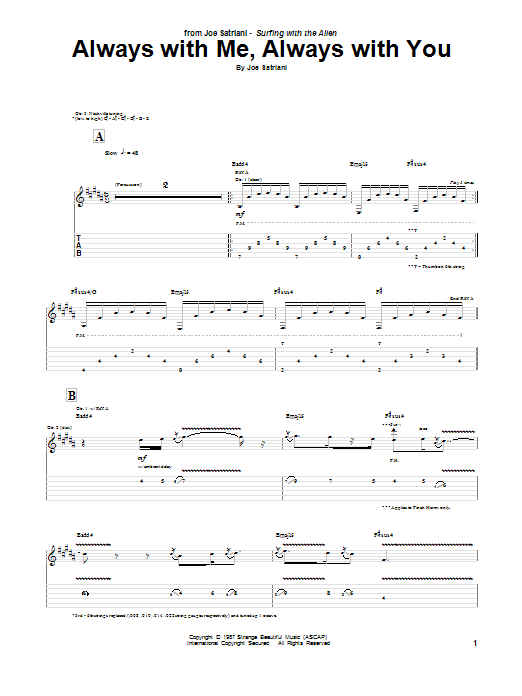 Joe Satriani Always With Me, Always With You sheet music notes and chords