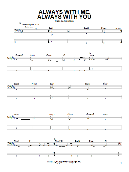Joe Satriani Always With Me, Always With You sheet music preview music notes and score for Bass Guitar Tab including 3 page(s)