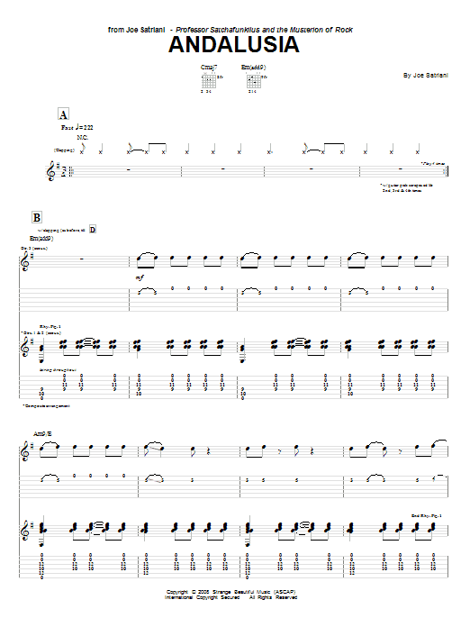 Joe Satriani Andalusia sheet music notes and chords