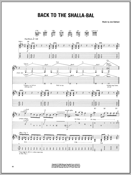 Joe Satriani Back To The Shalla-Bal sheet music preview music notes and score for Guitar Tab including 10 page(s)