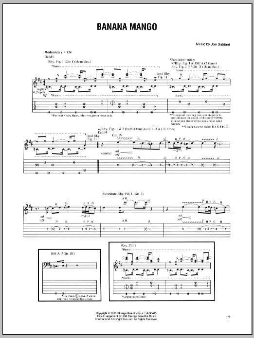 Joe Satriani Banana Mango sheet music preview music notes and score for Guitar Tab including 7 page(s)