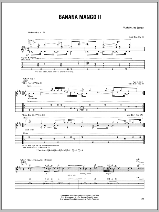 Joe Satriani Banana Mango II sheet music preview music notes and score for Guitar Tab including 14 page(s)