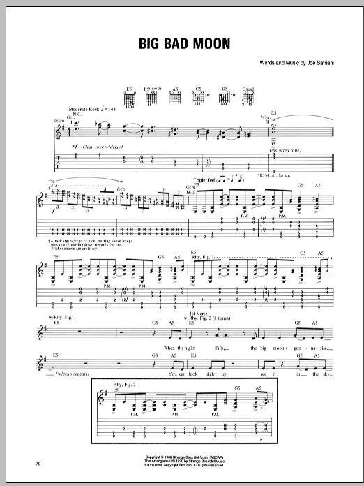 Joe Satriani Big Bad Moon sheet music preview music notes and score for Guitar Tab including 10 page(s)