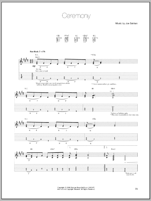Joe Satriani Ceremony sheet music preview music notes and score for Guitar Tab including 16 page(s)