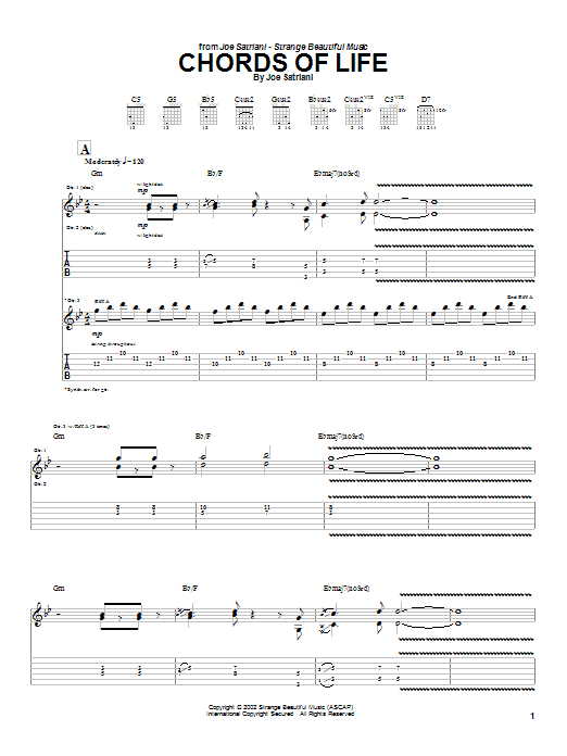 Joe Satriani Chords Of Life sheet music preview music notes and score for Guitar Tab including 10 page(s)
